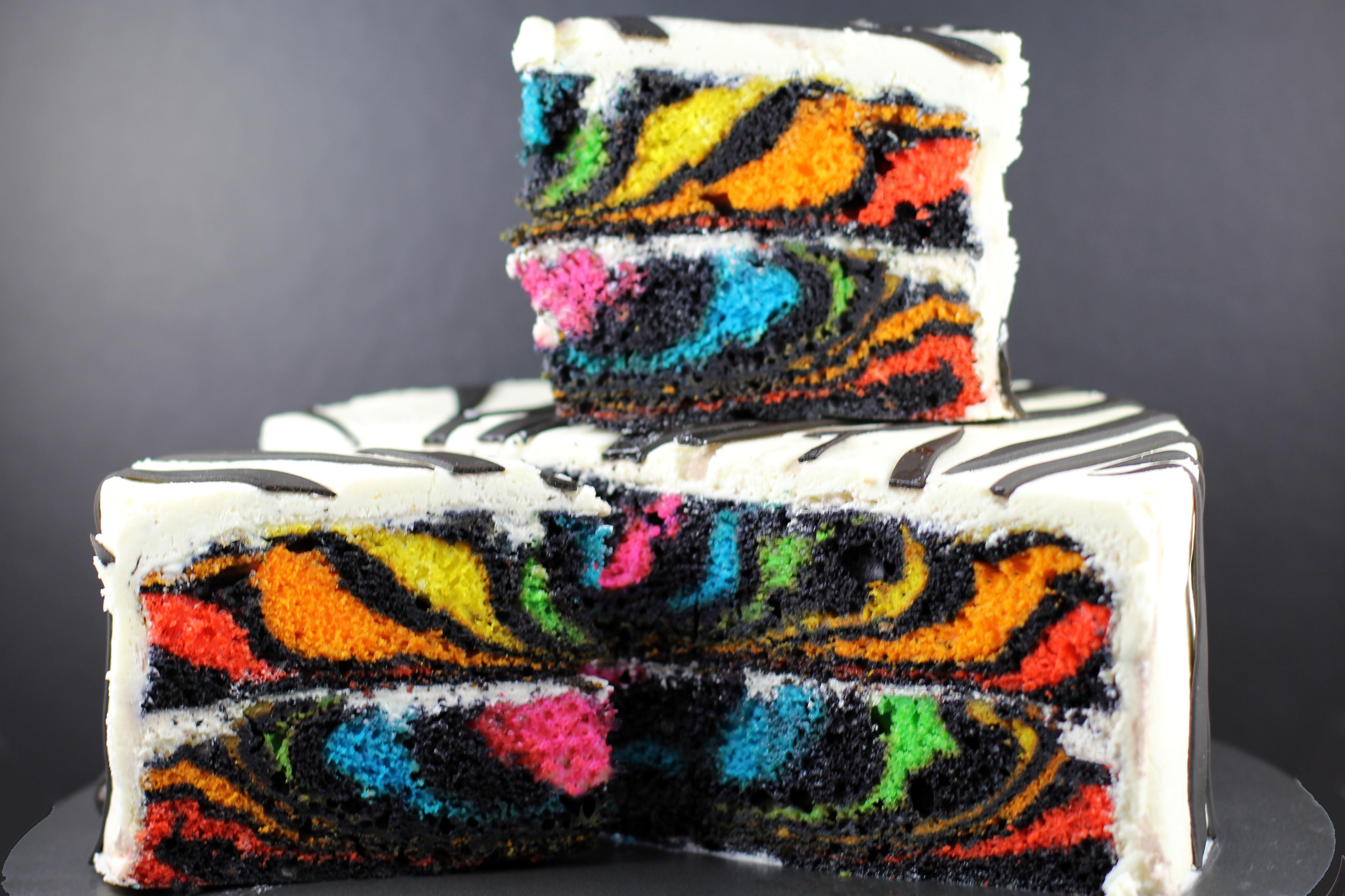 Surprise Inside Rainbow Zebra Cake Zebra cake topper | etsy. surprise inside rainbow zebra cake