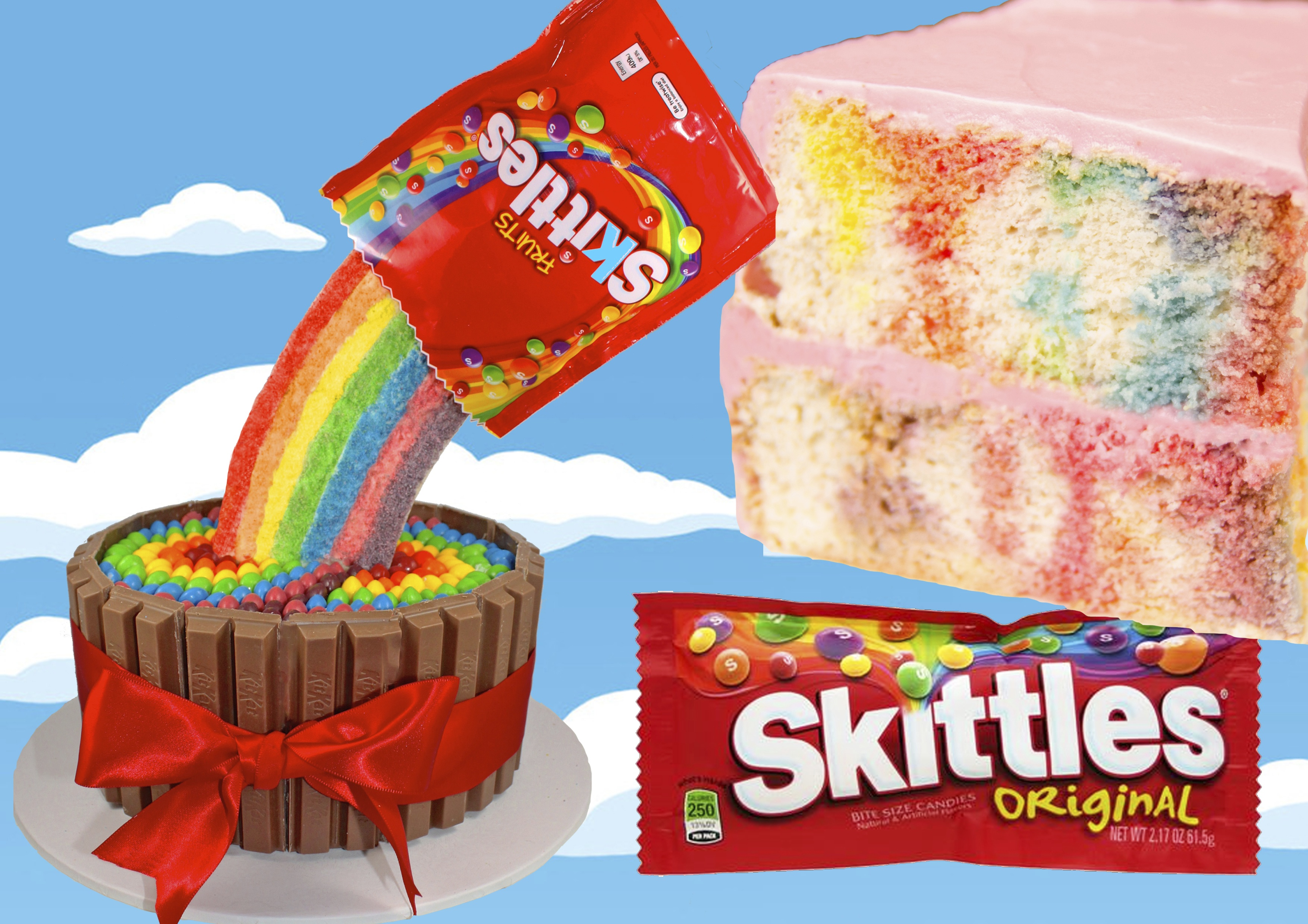 Enjoyable Skittles Rainbow Cake With A Pouring Candy Illusion Funny Birthday Cards Online Barepcheapnameinfo