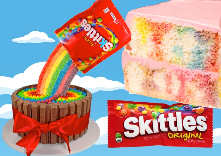 Skittles Rainbow Cake With A Pouring Candy Illusion